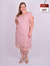 d14539d7857b Vestido Curto Manga Curta Linho Guipure Rosê Plus Size   Rita Andretto    Grassottelli Moda Grande   Loja Online