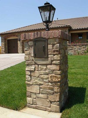 General Idea Brick Mailbox Post With Light Fixture