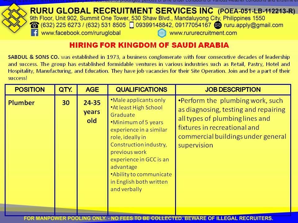 Immediate Needs For Skilled Workers For Saudi Arabia Hiring