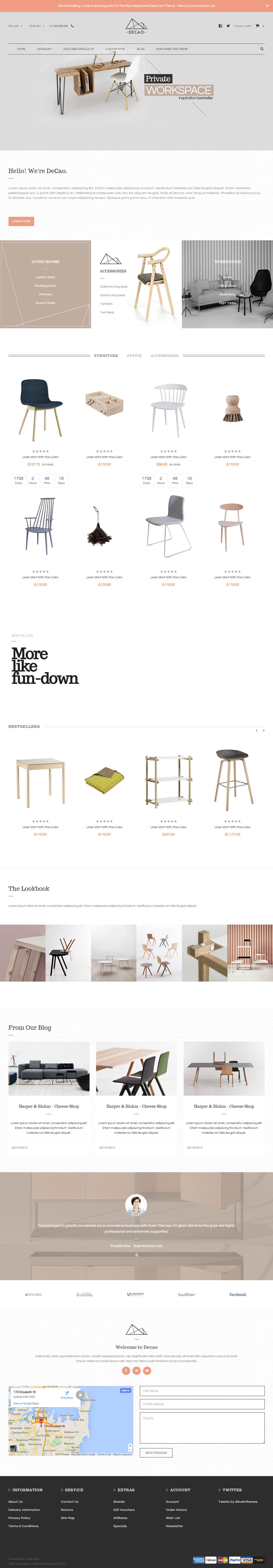 Decao Premium Responsive Elegant Furniture OpenCart Theme