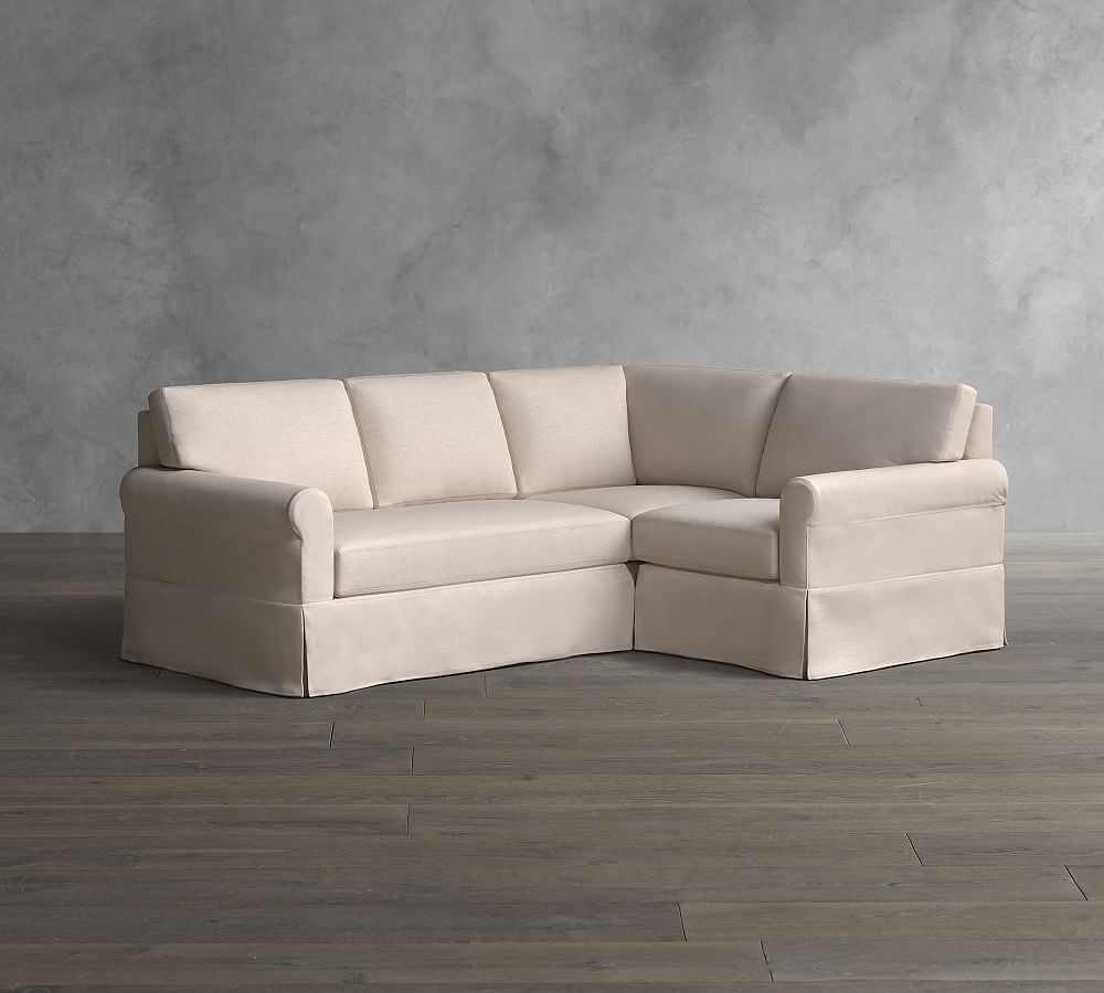 York Roll Arm Slipcovered 3 Piece Corner Sectional With Bench