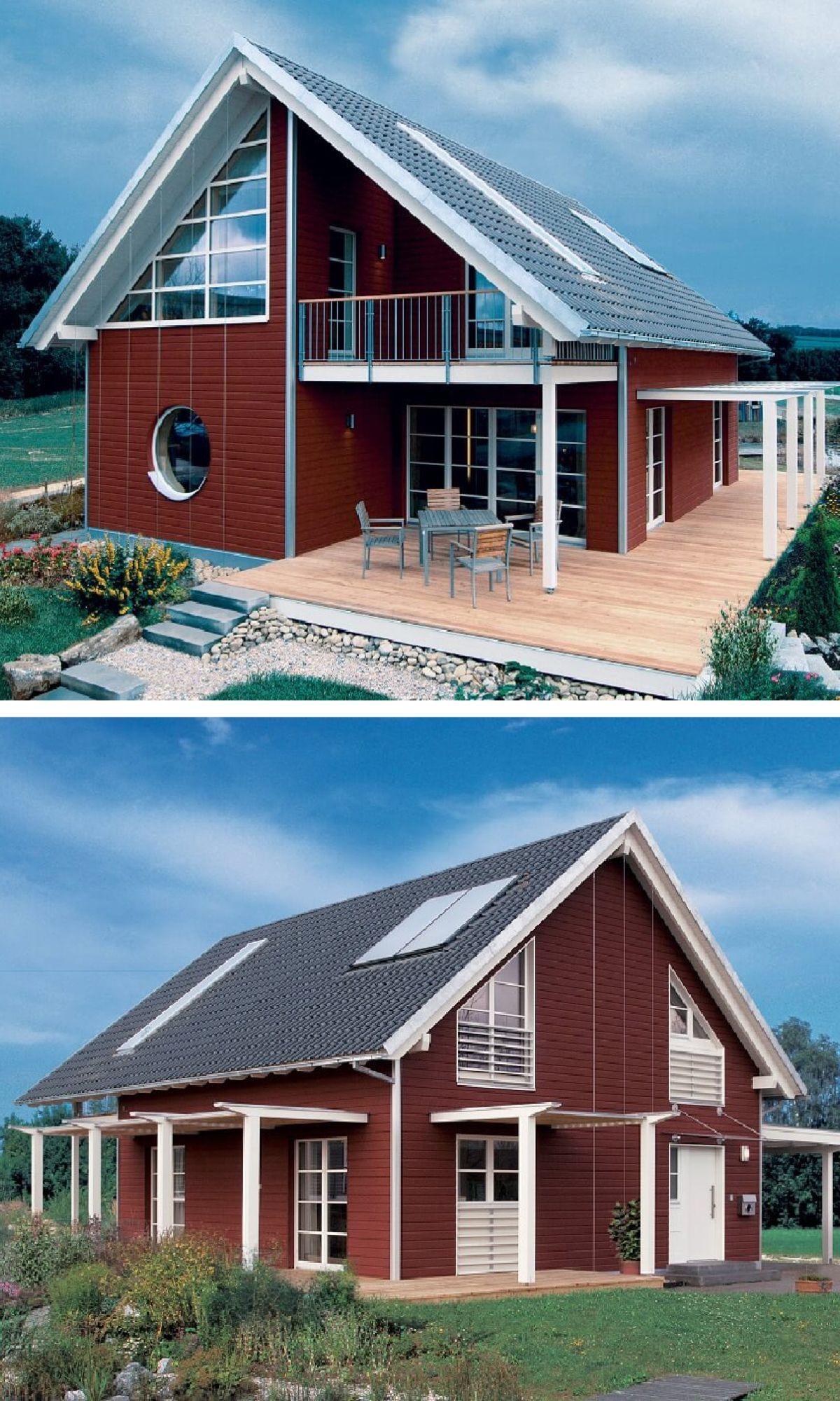Einfamilienhaus im Landhausstil skandinavisch mit Holz Fassade rot ...