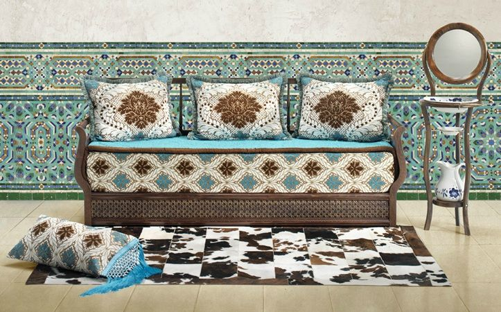 Salon Marocain Traditionnel (Marron, Blanc-cassé et Bleu) de ...