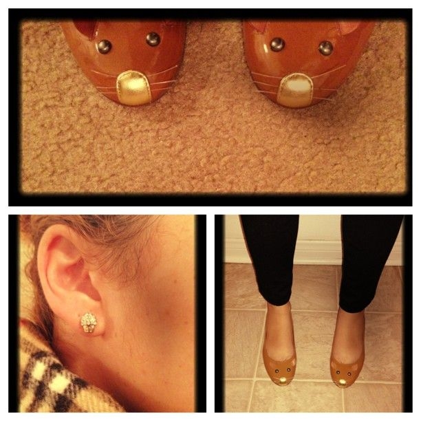 Burberry scarf,Cupcake earrings,Nordstrom,Mouse flats Marc Jacobs. Black cigarette pants, Target
