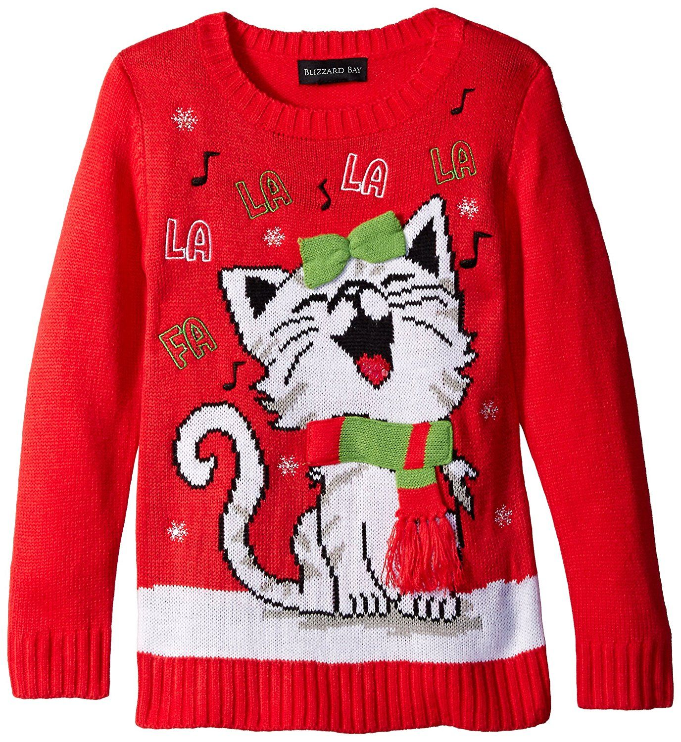 Amazon.com: Blizzard Bay Big Girls\' Happy Kitty Christmas Sweater ...