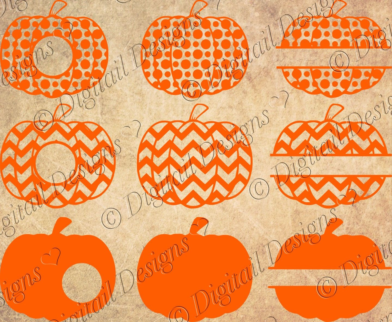 Pumpkin Monogram Frames Svg Png Dxf Eps Cut file Images Clipart Split Pumpkin Halloween Cut File for Silhouette Cricut by DigitailDesigns on Etsy https://www.etsy.com/listing/247346127/pumpkin-monogram-frames-svg-png-dxf-eps