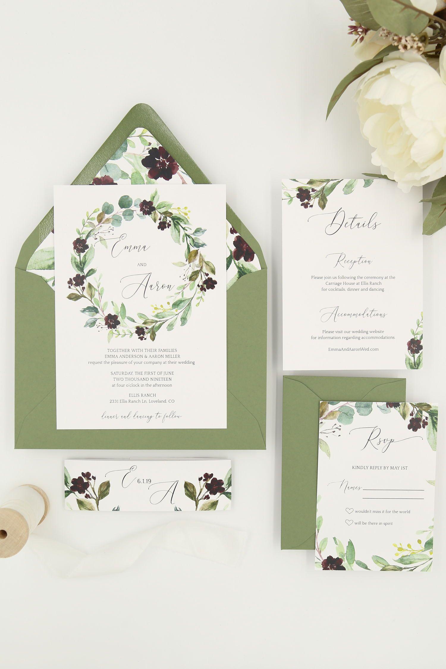 Greenery Wedding Invitation Template Printable Wedding Etsy In 2020 Printable Wedding Invitations Wedding Invitations Wedding Invitation Templates
