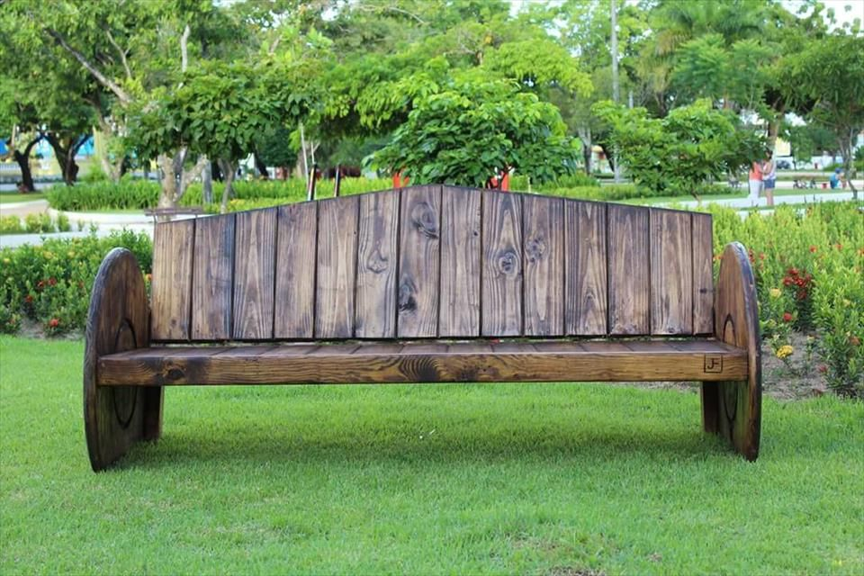 wooden pallet and spool wheel bench 150 wonderful pallet