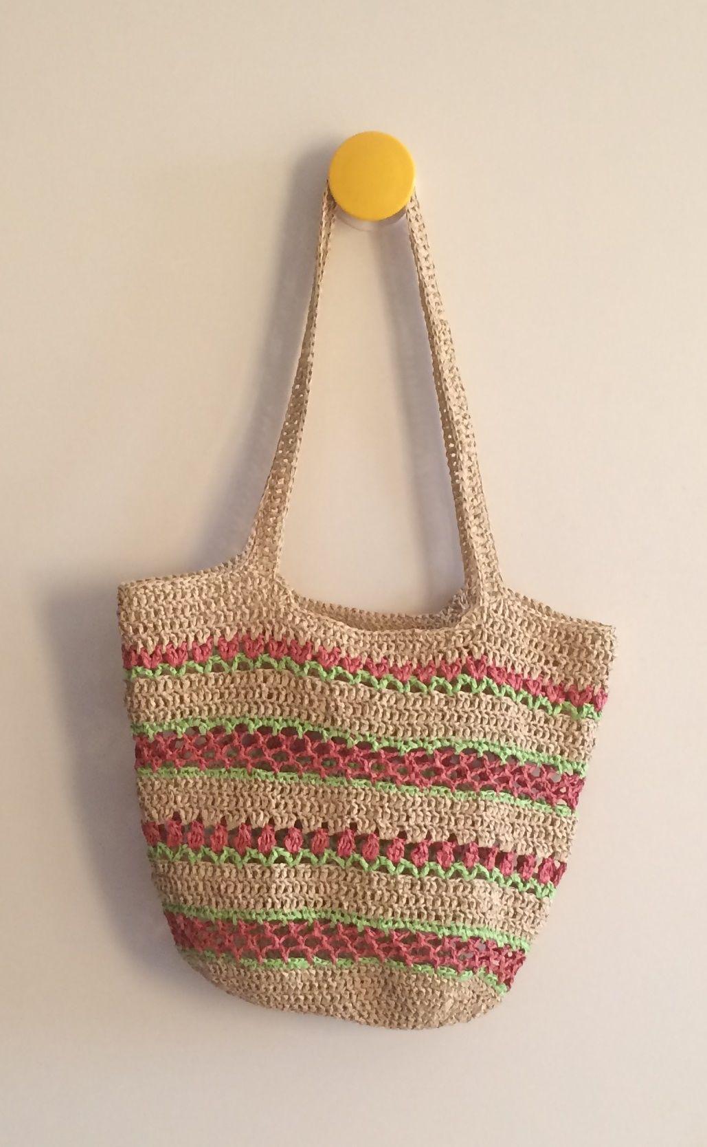 Paper raffia stripe bag. HM | My works | Pinterest | Tasche häkeln ...