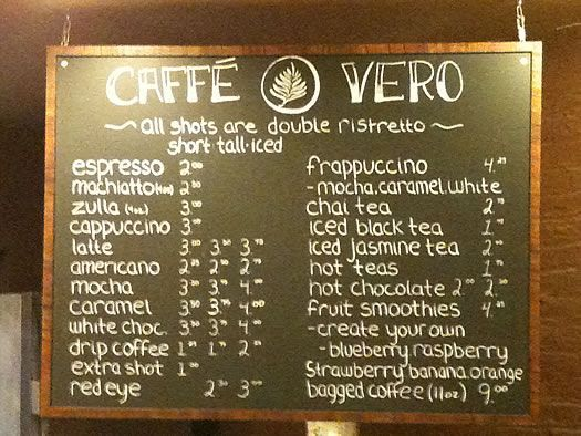 cafe menu board