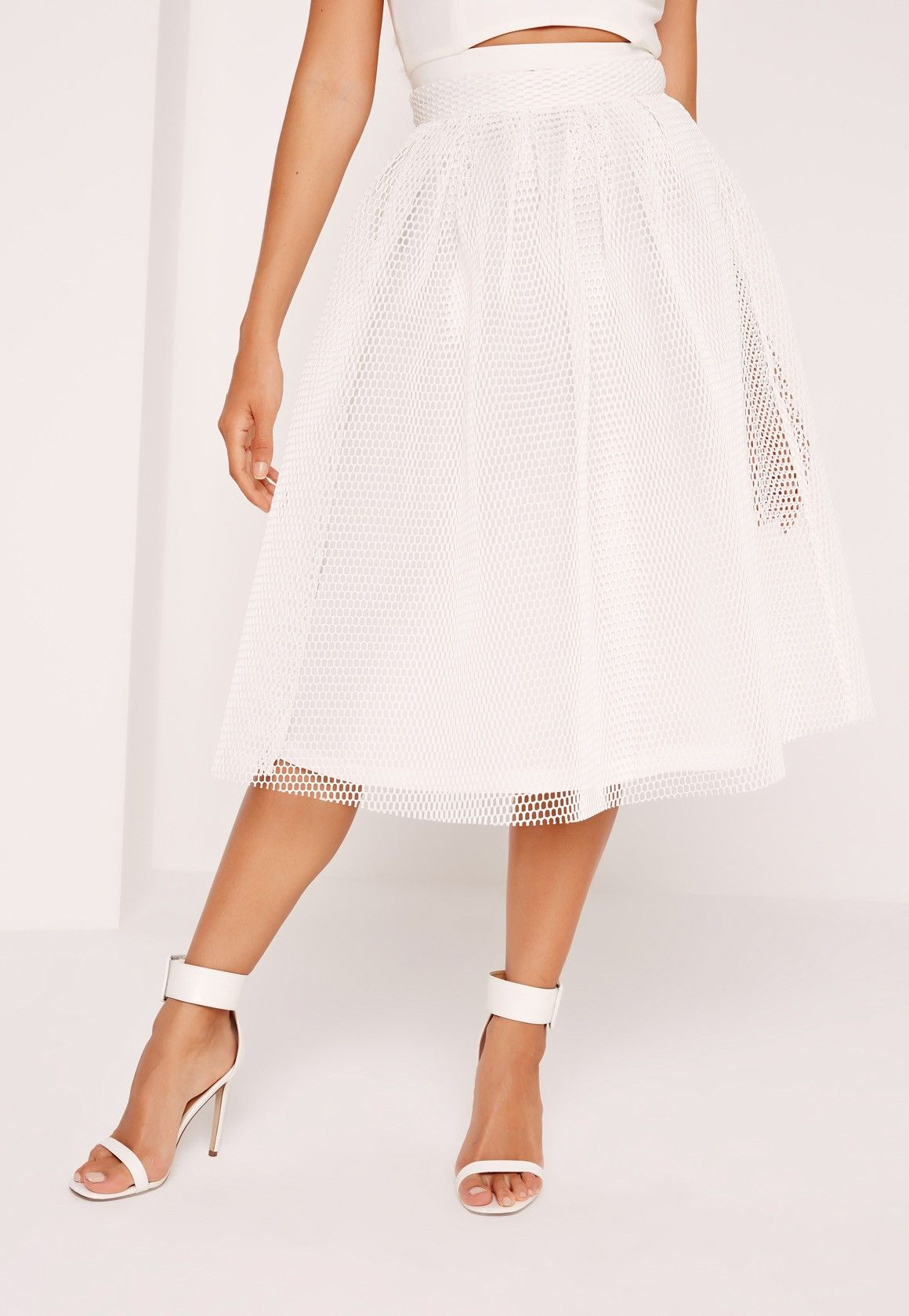 a9ceea7efaf3 Missguided - Mesh Full Airtex Midi Skirt White