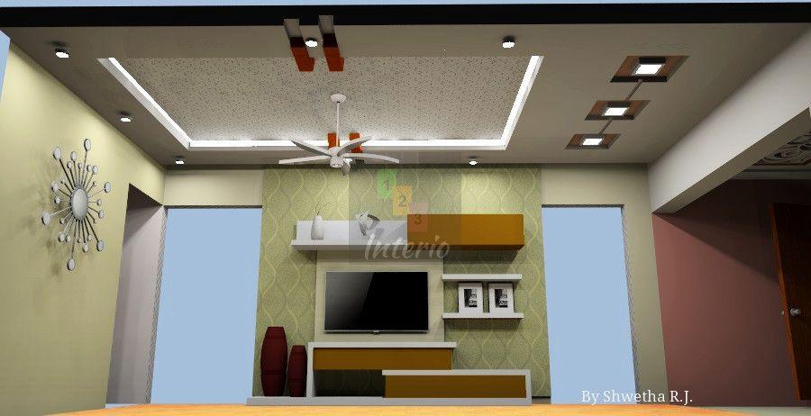 Living Room Design Tv Unit Wall Paper And False Ceiling False