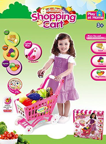 Mini Shopping Cart with Full Grocery Food Playset Toy for Kids - Pink     Check… 117fd6187d