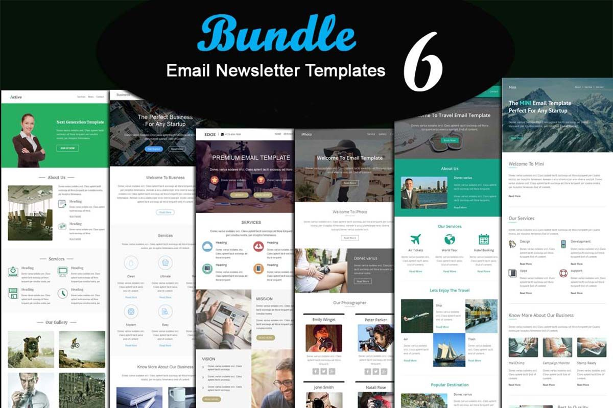 6 Modern Email newsletter template bundle | FREE Vector clip art ...