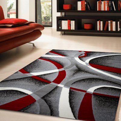 Zipcode Design Katelynn Gray White Wine Red Black Area Rug Size