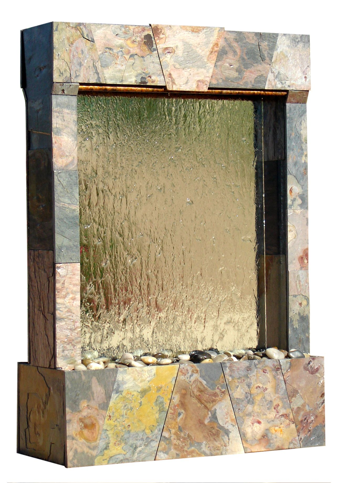 Apache glass and slate water wall | Indoor Floor Water Features ...