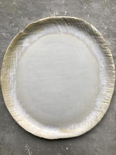 "10x11"" matte cream with textured edge platter"
