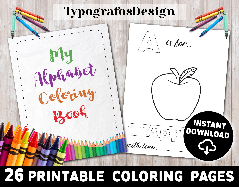 Abc Alphabet Coloring Book Alphabet Book Printable Coloring Etsy Alphabet Coloring Alphabet Book Printable Coloring Pages