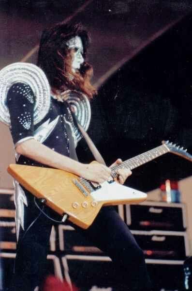 Early Ace Frehley With An Explorer Before His Trademark Les Paul