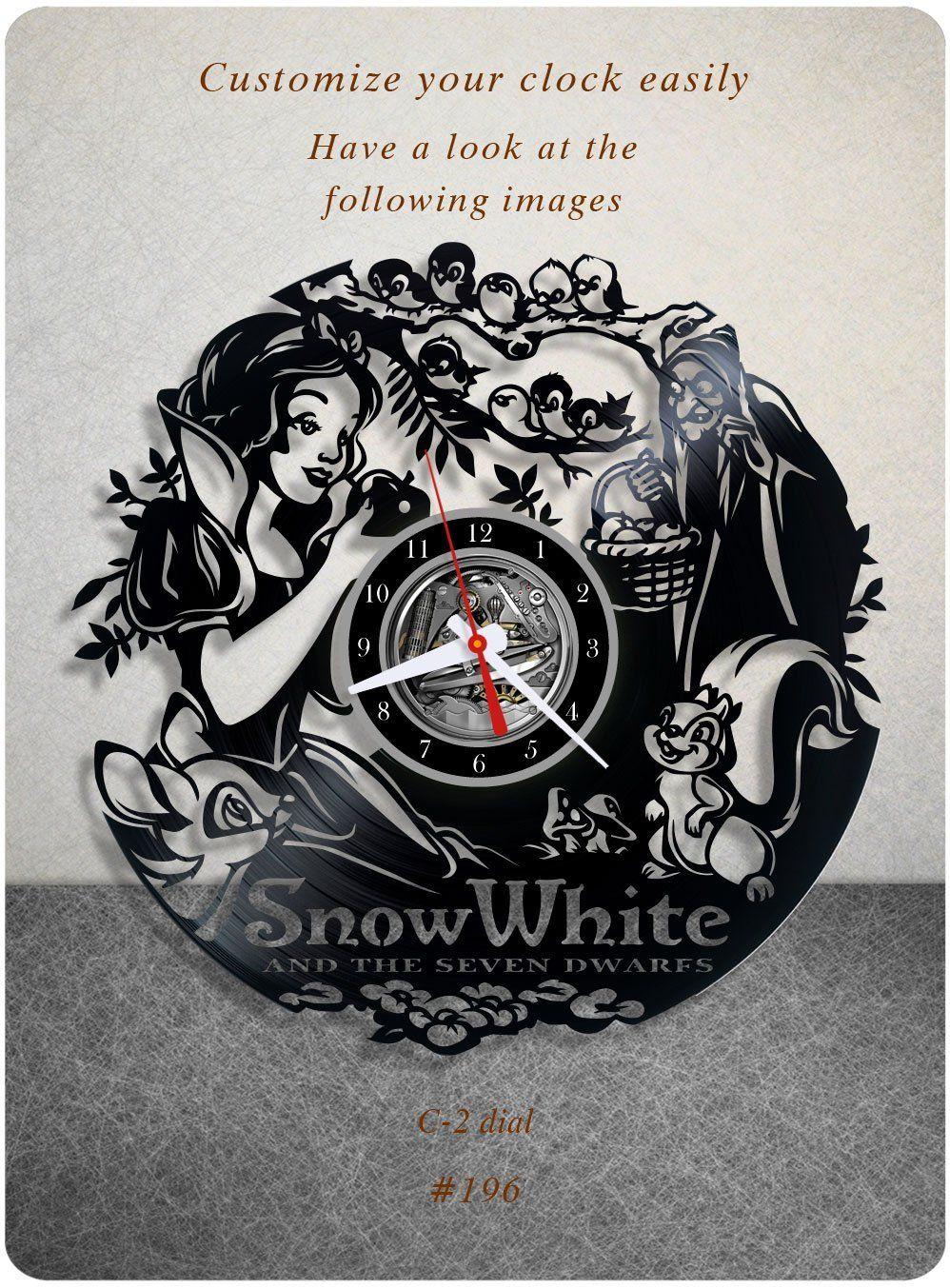 Snow white and the seven dwarfs vinyl clock vinyl wall clock snow white and the seven dwarfs vinyl clock vinyl wall clock vinyl record clock walt disney wall art home decor kids birthday gift 196 amipublicfo Choice Image