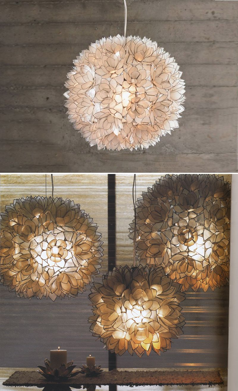 Decorative Capiz Shell Lotus Flower Pendant Light Fixtures These Things Are Gorgeous
