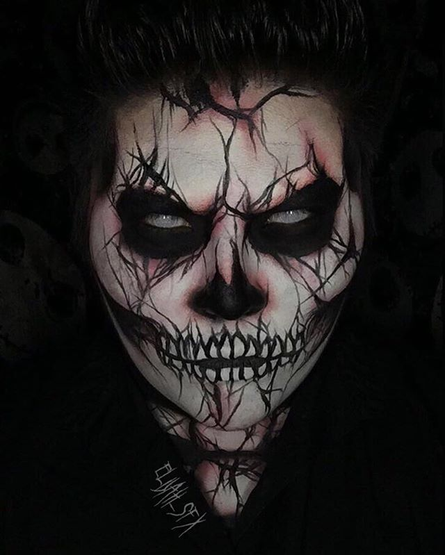 13 Days Of Halloween Day 1 Cracked Skeleton Halloween Pinterest - maquillaje para halloween para hombre