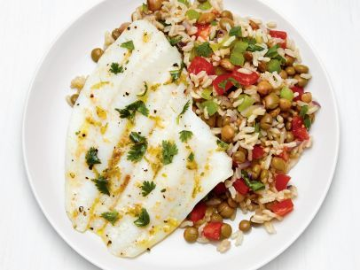 Caribbean Flounder With Pigeon Peas And Rice Recipe Food