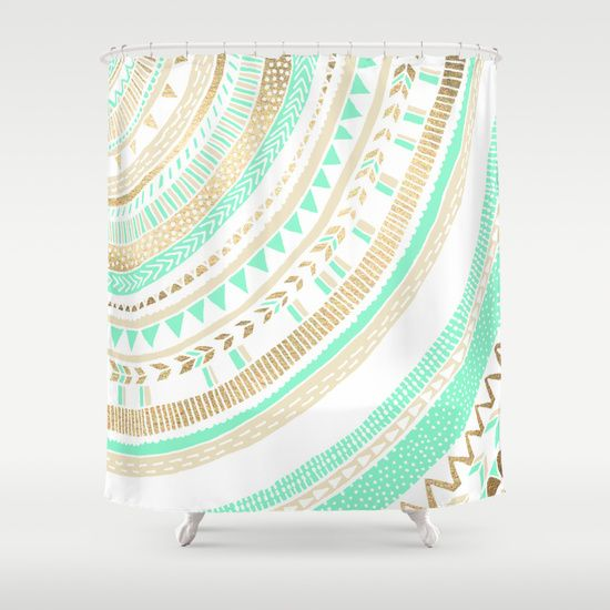 Mint + Gold Tribal Shower Curtain | Mint gold and Cream bathroom