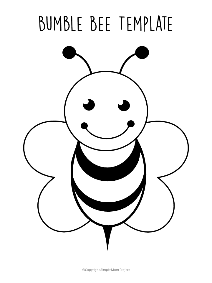 Free Printable Bee Templates - Simple Mom Project Bee Coloring Pages, Bee  Template, Bee Printables