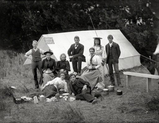 Circa 1905 Near Christchurch New Zealand Young People With Camping Gear Having Tea And Cake I History Of Photography Shorpy Historical Photos Camping Photo