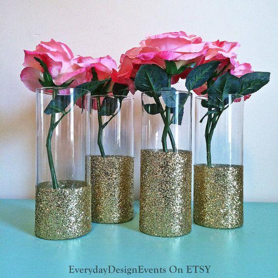 50 Vases Bulk Discount Gold Vases Glass By Everydaydesignevents Decoracao Casamento Rustico Decoracao Festa 15 Anos Decoracao De Casamento