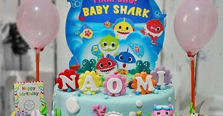 Beautiful Pink Fong Baby Shark Birthday Cake Shark
