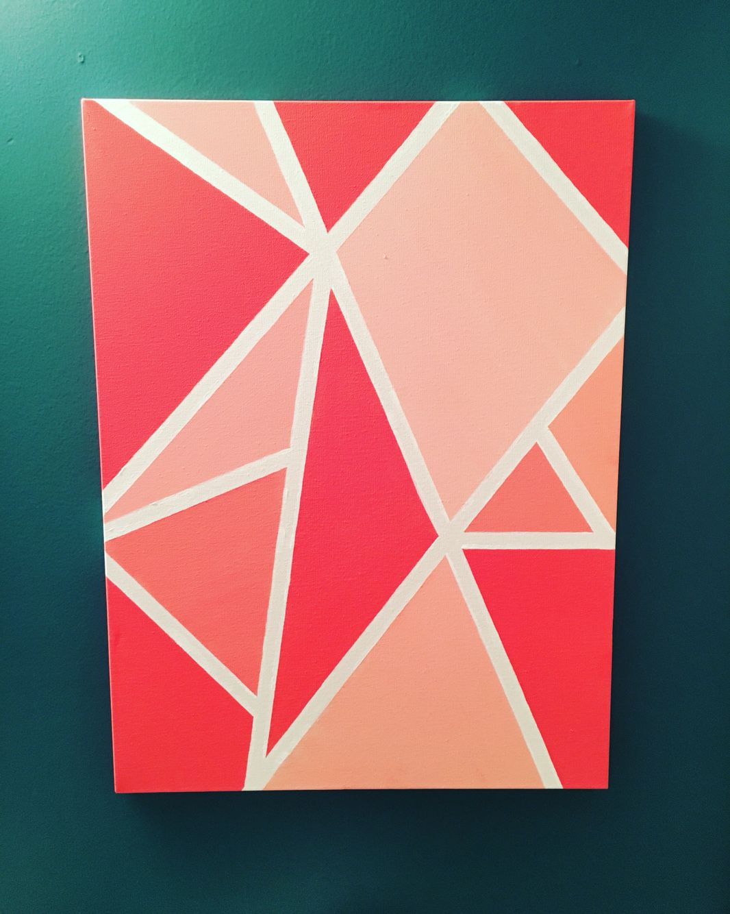 Geometric Painting Coral Blue Gold Diy Canvas Art Painters Tape Art Simple Canvas Paintings