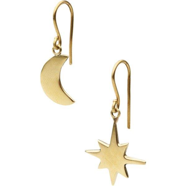 Hiro + Wolf Earrings (451.165 IDR) ❤ liked on Polyvore featuring jewelry, earrings, gold, dog earrings, wooden earrings, bee jewelry, earring jewelry and bee earrings