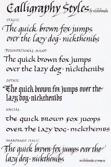 Calligraphy Styles - Nicholas Caulkin | calligraphy & lettering ...