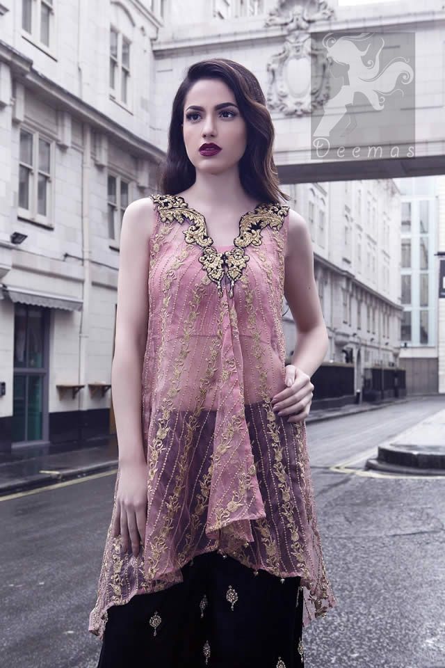 Latest Party Wear Pink Shirt & Embroidered Sharara