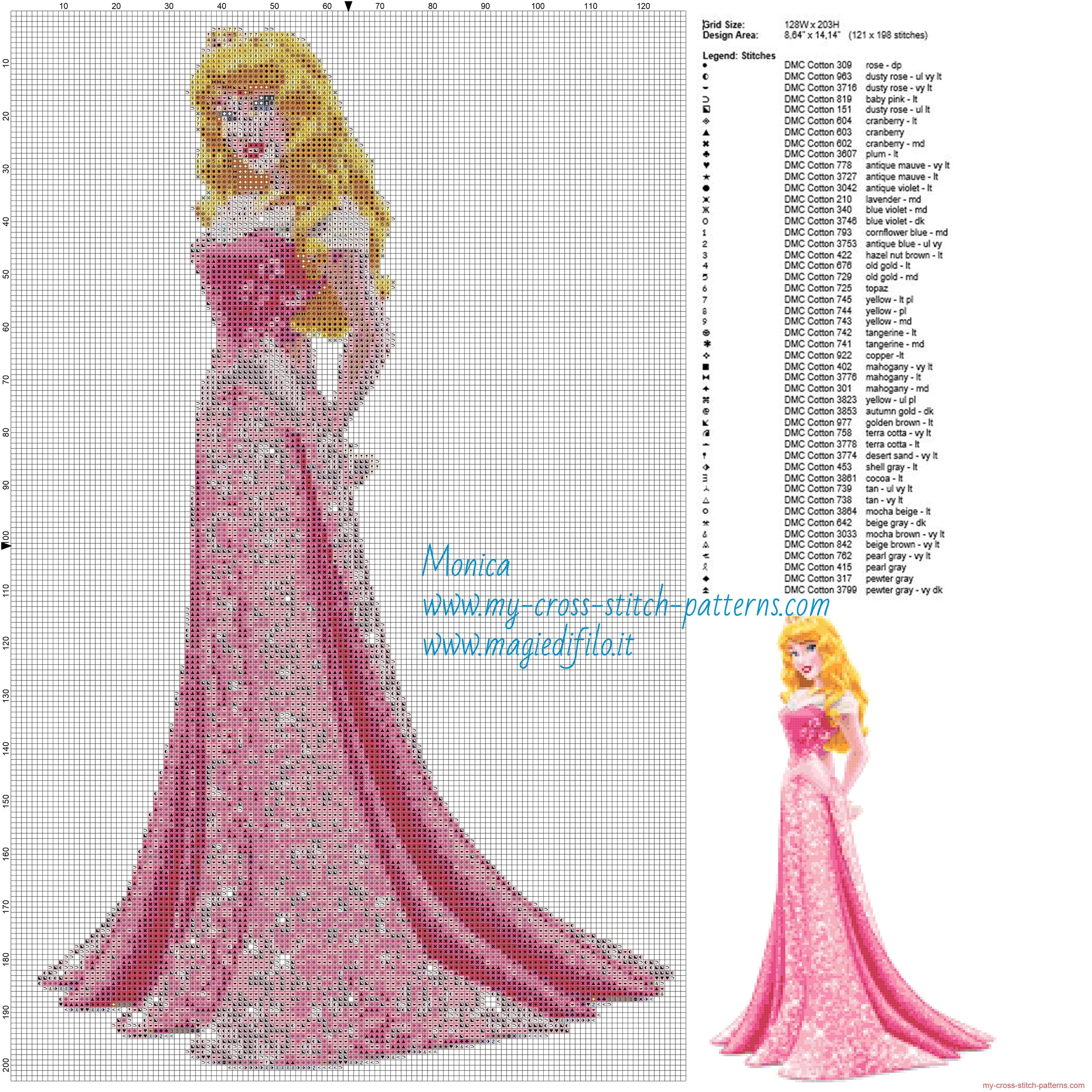 Princess Aurora cross stitch pattern | Cruz Disney | Pinterest