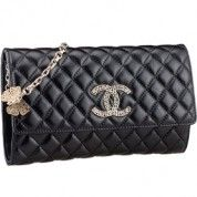 Chanel Quilted Black Leather Shoulder Flap Bag with Butterfly 7864  $198