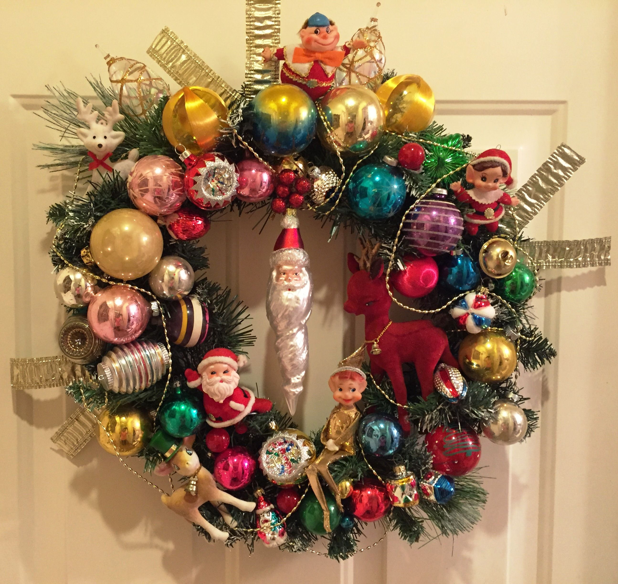 Handmade wreath using vintage ornaments from Poland, Germany,Austria,also Shiny Brite ornaments.