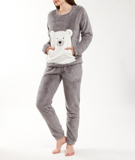 pyjama 2 pi ces ours toucher peluche teddy bear gris. Black Bedroom Furniture Sets. Home Design Ideas