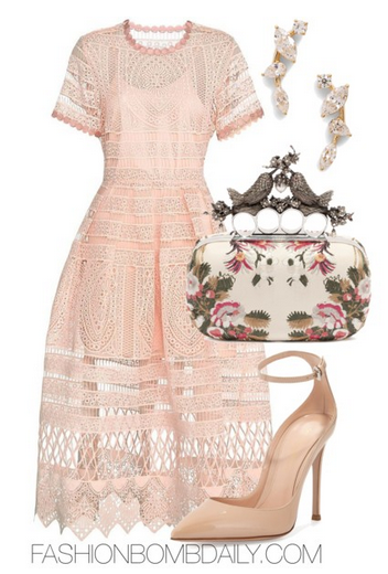 What To Wear A Spring Wedding Alexis Alanna Blossom Embroidered Lace Dress Gianvito Rossi Patent