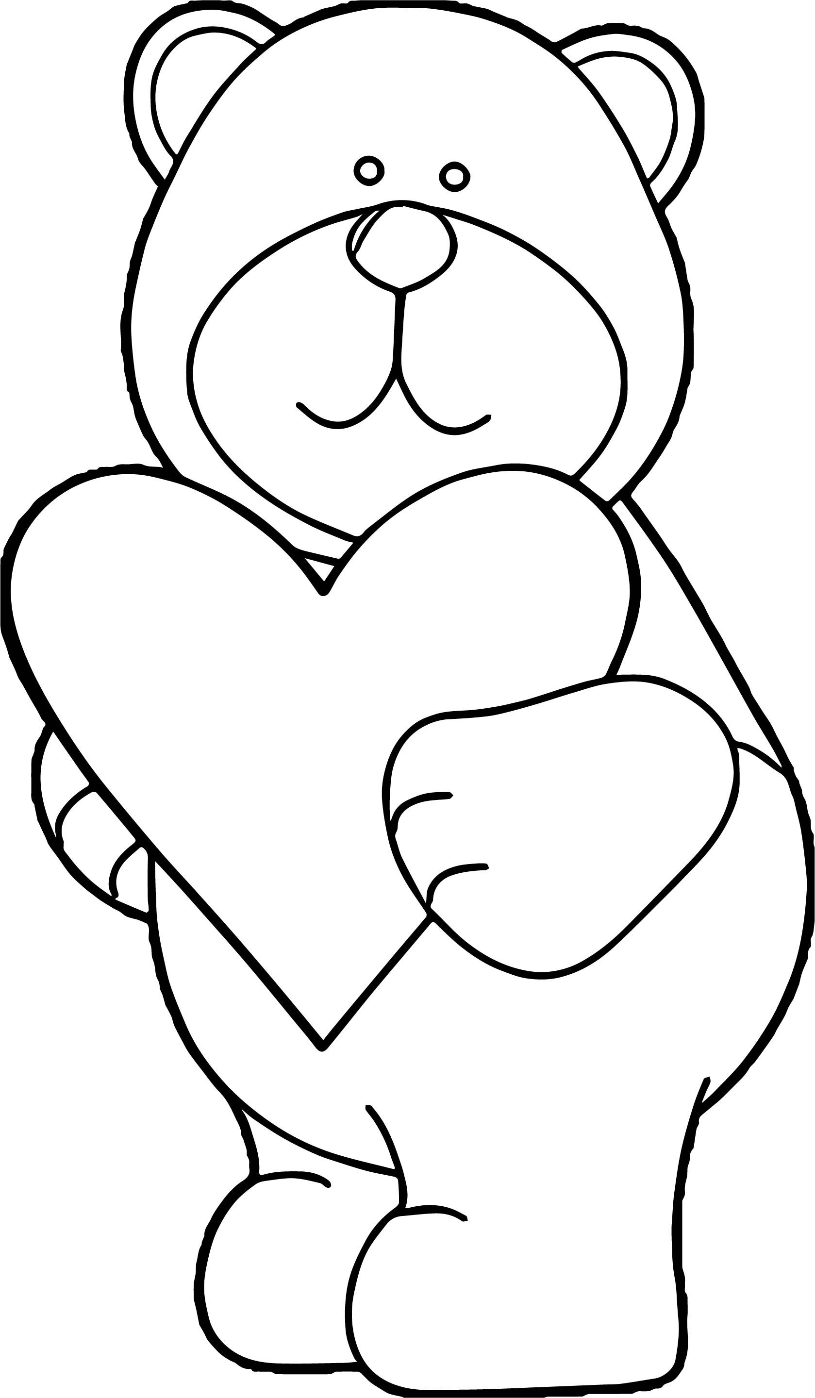 Awesome Bear Heart Coloring Page Heart Coloring Pages