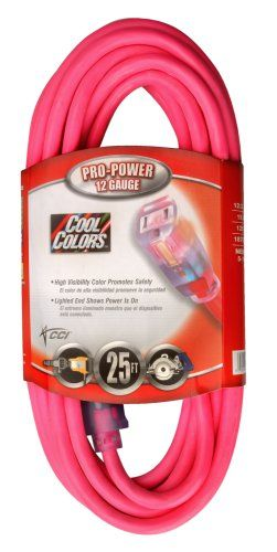 Coleman Cable 02577 0a 12 3 25 Foot Cool Color Outdoor Extension Cord Sjtw Rated Hi Gloss Fluorescent Pi Outdoor Extension Cord Extension Cord Fluorescent Pink