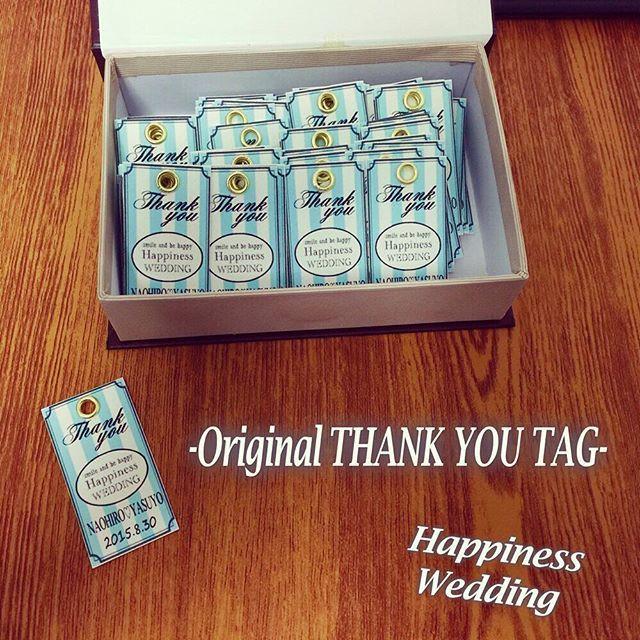 特典のオリジナルタグになります^_^  ハピネスでは、お二人のご希望通りにオリジナルデザインでペーパーアイテムなど制作しております♪  詳しくは、プロフィールよりサイトのホームページをご覧ください^_^  #結婚式 #結婚準備 #結婚式準備 #ブライダル #席次表 #ペーパーアイテム #プロフィール席次表 #席札 #招待状 #プロフィールムービー #生い立ちムービー #DIY #余興  #オリジナル席次表 #スタンプ #ハワイ挙式 #ウェディング #プロフィールブック #入籍 #DIY #ミタント #ミタント紙 #ガーランド#JUSTMARRIED #招待状 #invitation #サンキュータグ #SAVETHEDATE #セーブザデート #結婚式 #wedding #プレ花嫁