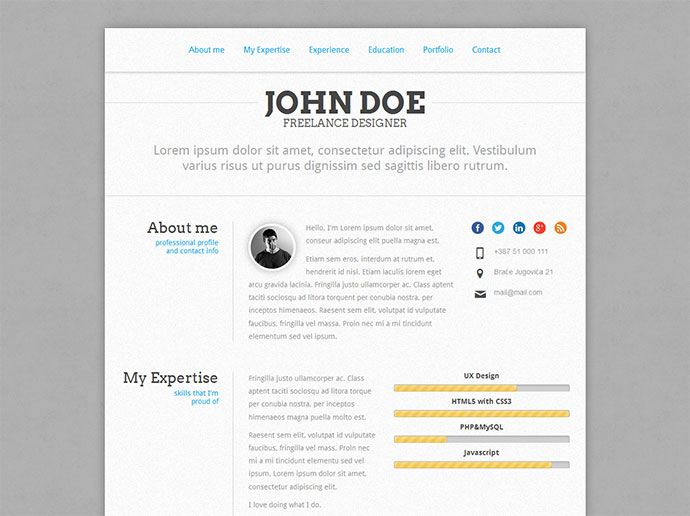 50 Professional HTML Resume Templates Cv resume template, Free - html resume