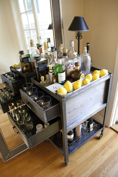 Industrial Style Antique Bar Cart Fully Stocked Of