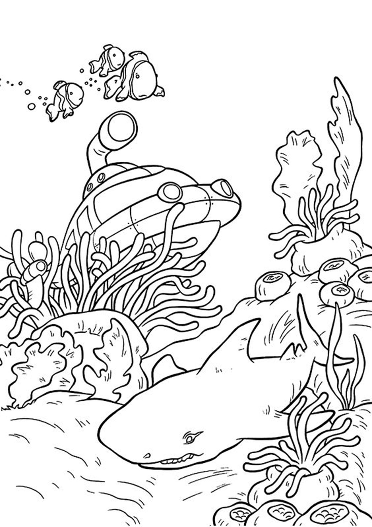 Free Easy To Print Shark Coloring Pages Shark Coloring Pages Ocean Coloring Pages Space Coloring Pages [ 2048 x 1448 Pixel ]