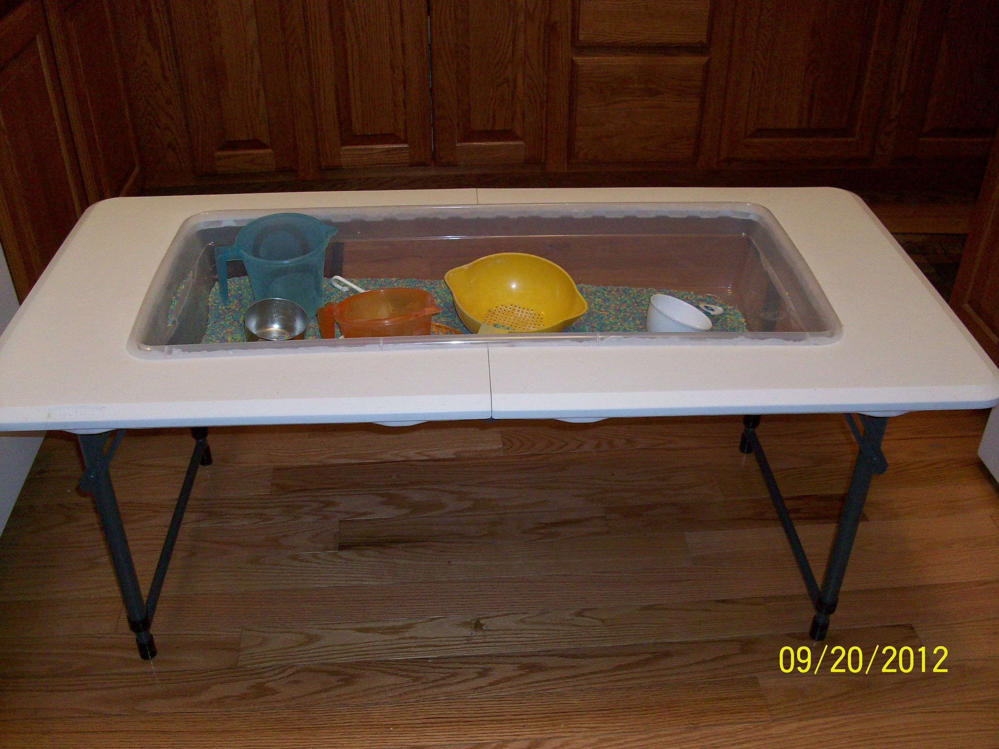 4 foot adjustable height folding table - I Made This Daycare Sensory Table Using A 4 Foot Fold In Half Table And A