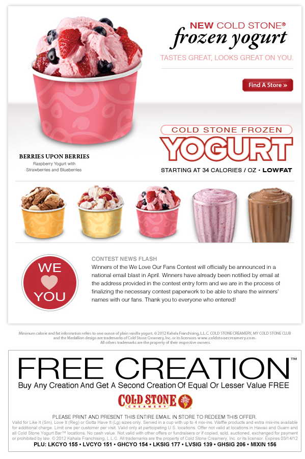 graphic about Cold Stone Printable Coupon titled Minute ice product no cost at Chilly Stone Creamery Enjoyable Foodstuff