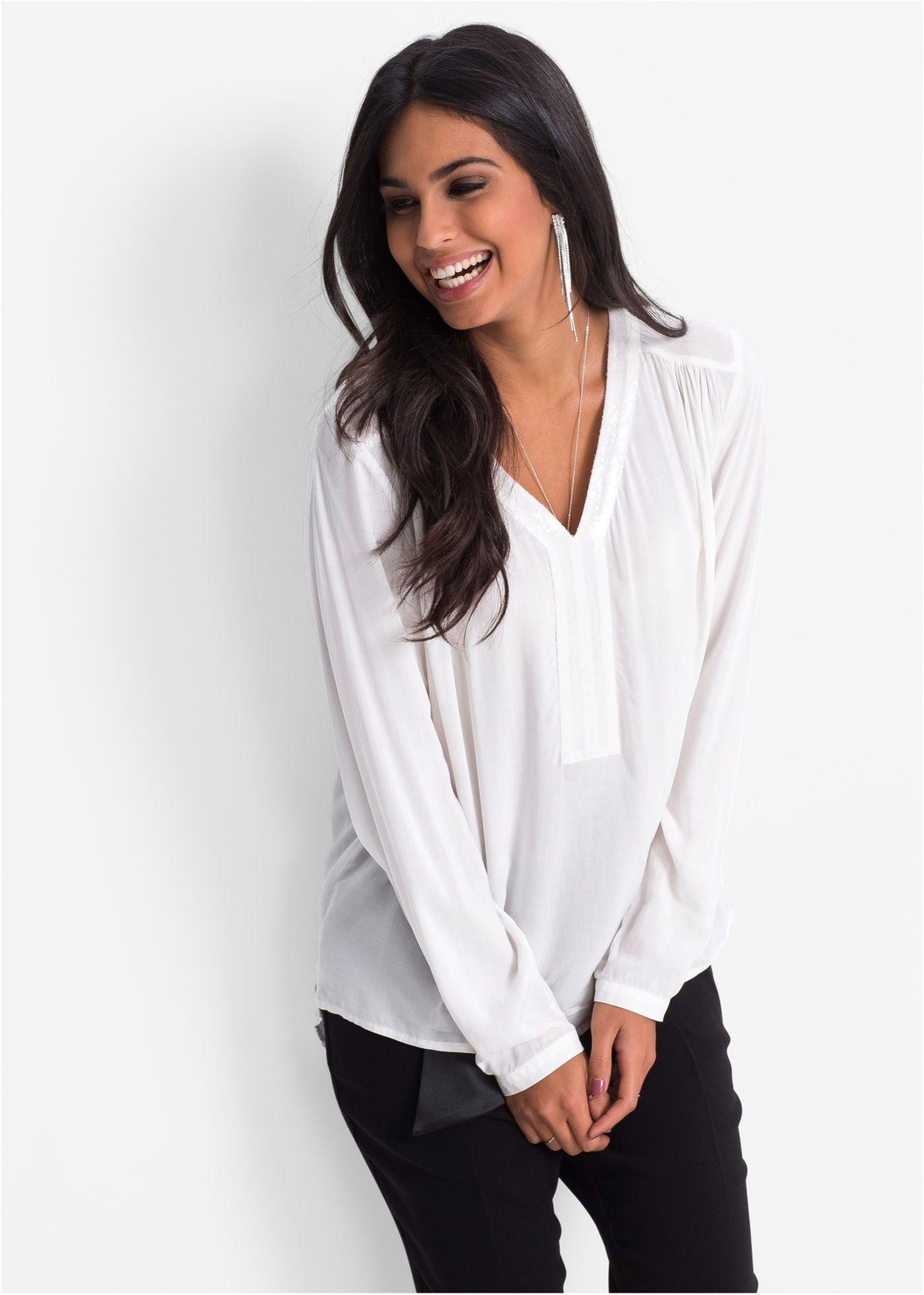b3028f3452e2d8 Bluse mit Pailletten wollweiß jetzt im Online Shop von bonprix.de ab ? 16,